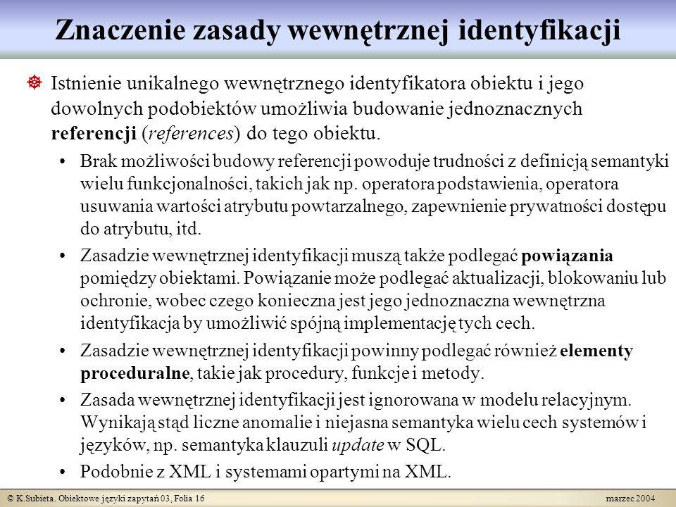 © K.Subieta. Obiektowe języki zapytań 03, Folia 16 marzec 2004 Znaczenie zasady wewnętrznej identyfikacji Istnienie unikalnego wewnętrznego identyfika