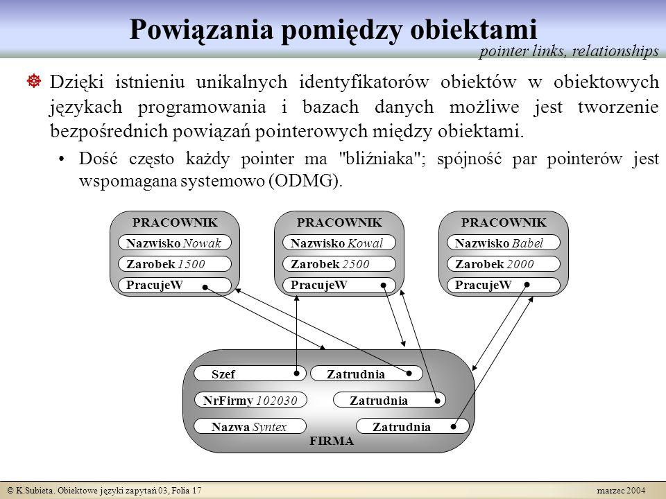 © K.Subieta. Obiektowe języki zapytań 03, Folia 17 marzec 2004 Powiązania pomiędzy obiektami Dzięki istnieniu unikalnych identyfikatorów obiektów w ob