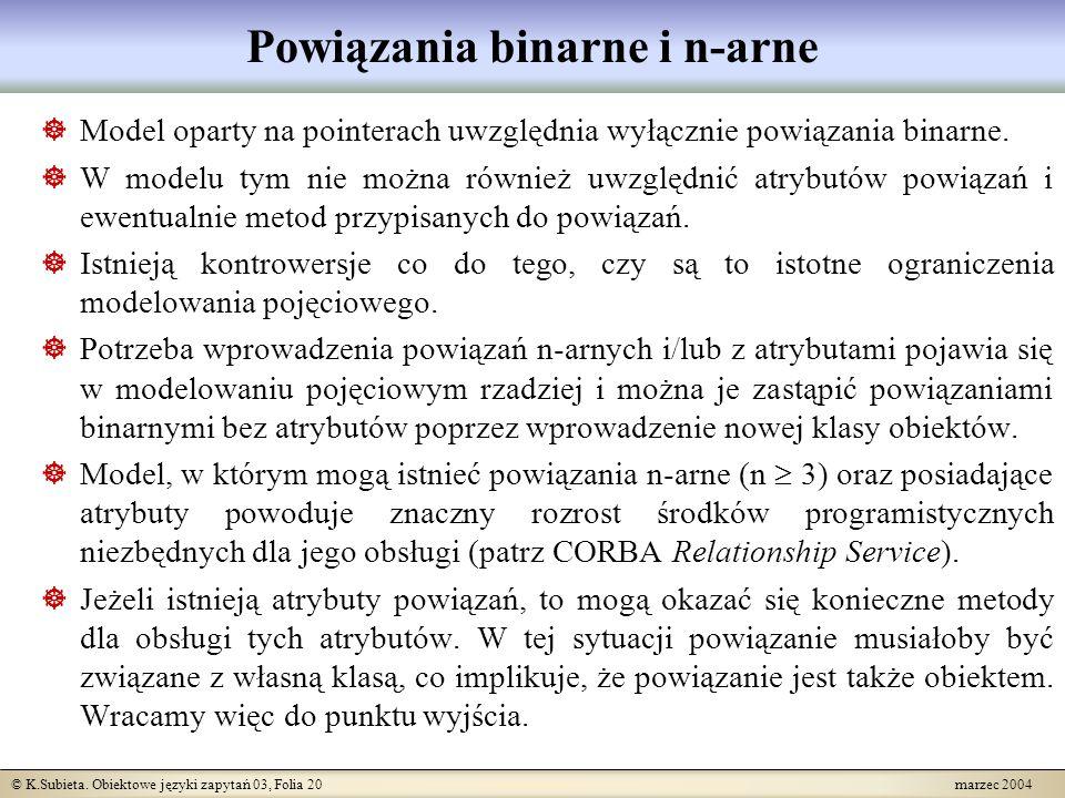 © K.Subieta. Obiektowe języki zapytań 03, Folia 20 marzec 2004 Powiązania binarne i n-arne Model oparty na pointerach uwzględnia wyłącznie powiązania