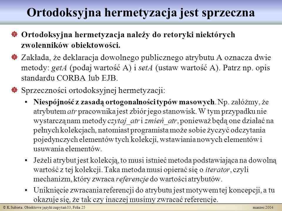 © K.Subieta. Obiektowe języki zapytań 03, Folia 25 marzec 2004 Ortodoksyjna hermetyzacja jest sprzeczna Ortodoksyjna hermetyzacja należy do retoryki n