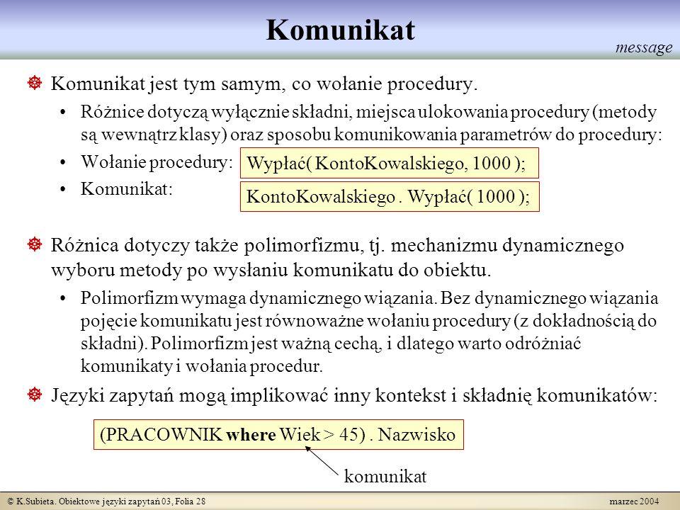 © K.Subieta. Obiektowe języki zapytań 03, Folia 28 marzec 2004 Komunikat Komunikat jest tym samym, co wołanie procedury. Różnice dotyczą wyłącznie skł
