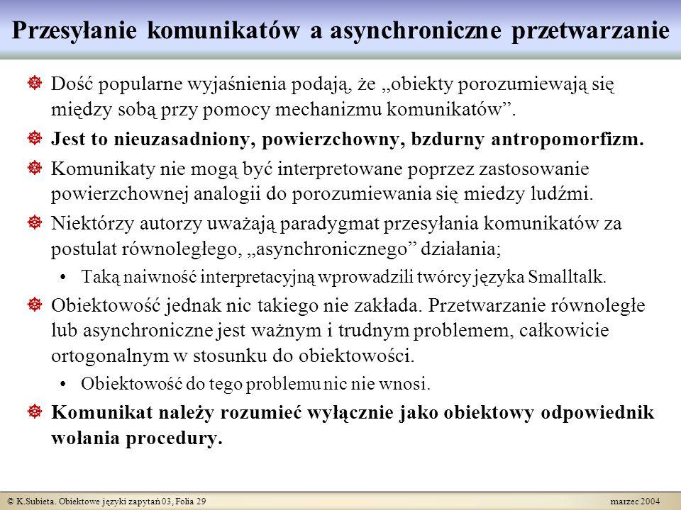 © K.Subieta. Obiektowe języki zapytań 03, Folia 29 marzec 2004 Przesyłanie komunikatów a asynchroniczne przetwarzanie Dość popularne wyjaśnienia podaj