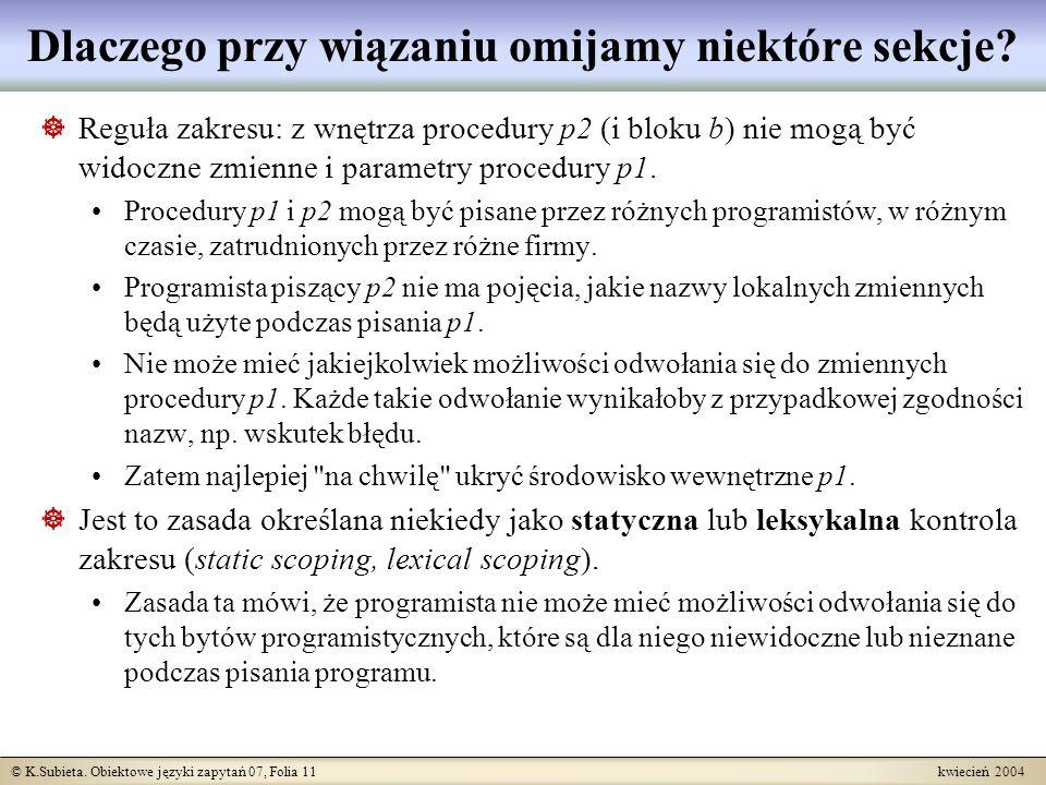 © K.Subieta. Obiektowe języki zapytań 07, Folia 11 kwiecień 2004 Dlaczego przy wiązaniu omijamy niektóre sekcje? Reguła zakresu: z wnętrza procedury p