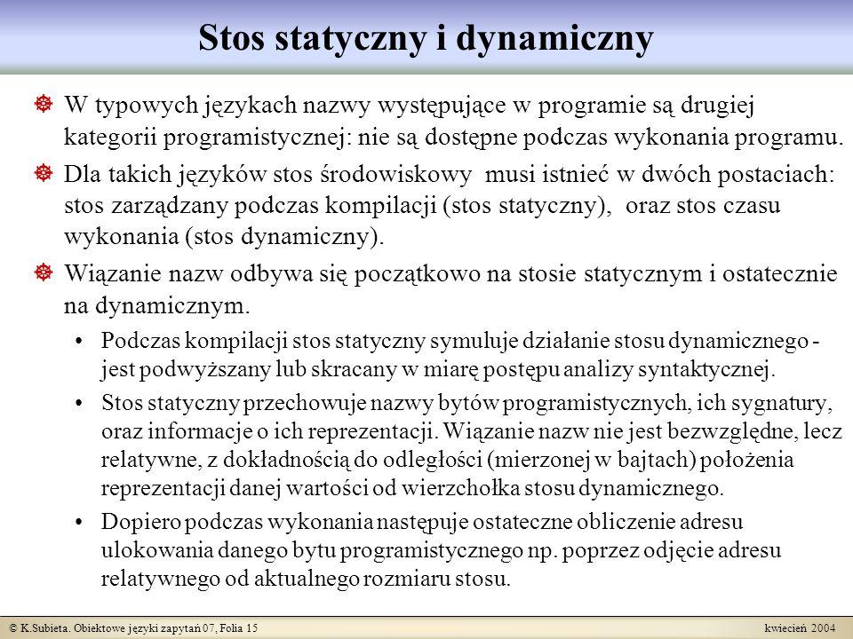 © K.Subieta. Obiektowe języki zapytań 07, Folia 15 kwiecień 2004 Stos statyczny i dynamiczny W typowych językach nazwy występujące w programie są drug