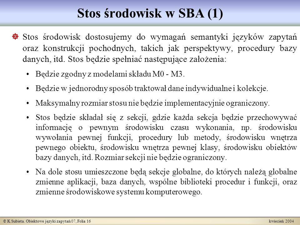 © K.Subieta. Obiektowe języki zapytań 07, Folia 16 kwiecień 2004 Stos środowisk w SBA (1) Stos środowisk dostosujemy do wymagań semantyki języków zapy