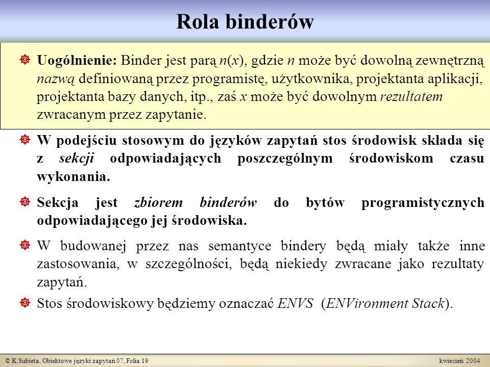 © K.Subieta. Obiektowe języki zapytań 07, Folia 19 kwiecień 2004 Rola binderów Uogólnienie: Binder jest parą n(x), gdzie n może być dowolną zewnętrzną