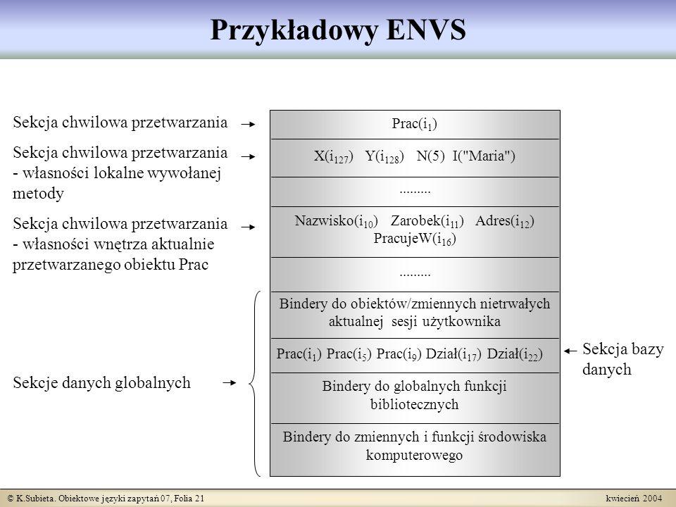© K.Subieta. Obiektowe języki zapytań 07, Folia 21 kwiecień 2004 Przykładowy ENVS Sekcja chwilowa przetwarzania Sekcja chwilowa przetwarzania - własno
