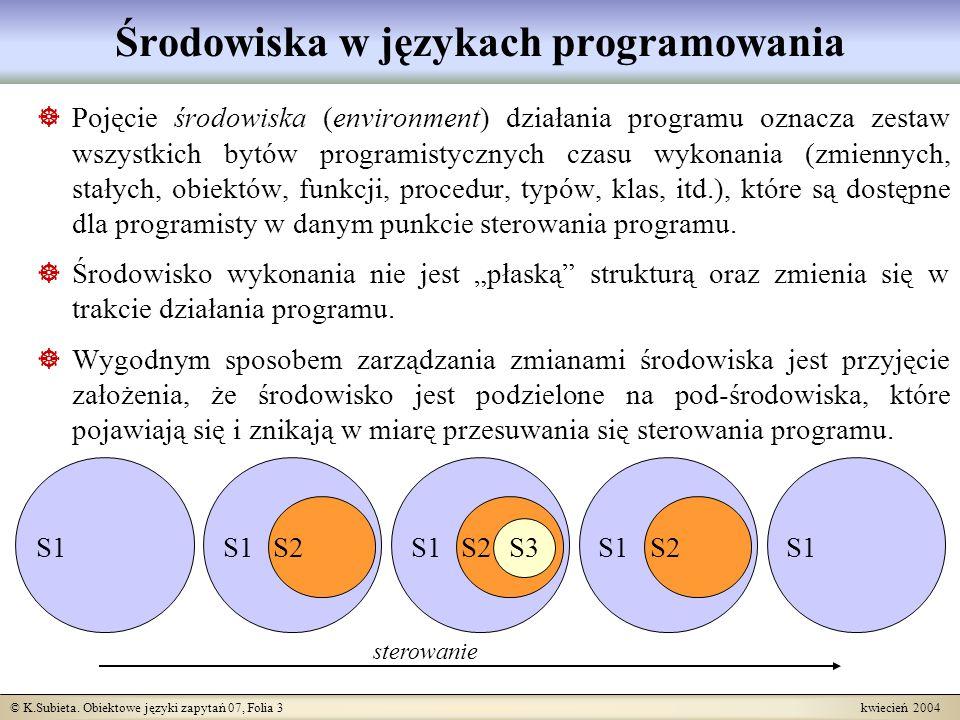 © K.Subieta. Obiektowe języki zapytań 07, Folia 3 kwiecień 2004 Środowiska w językach programowania Pojęcie środowiska (environment) działania program