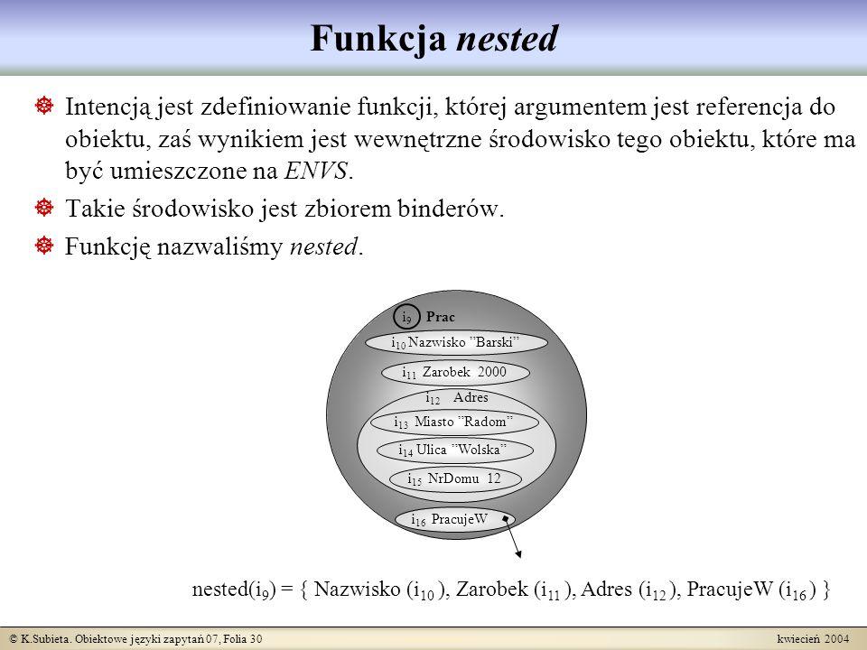 © K.Subieta. Obiektowe języki zapytań 07, Folia 30 kwiecień 2004 Funkcja nested Intencją jest zdefiniowanie funkcji, której argumentem jest referencja
