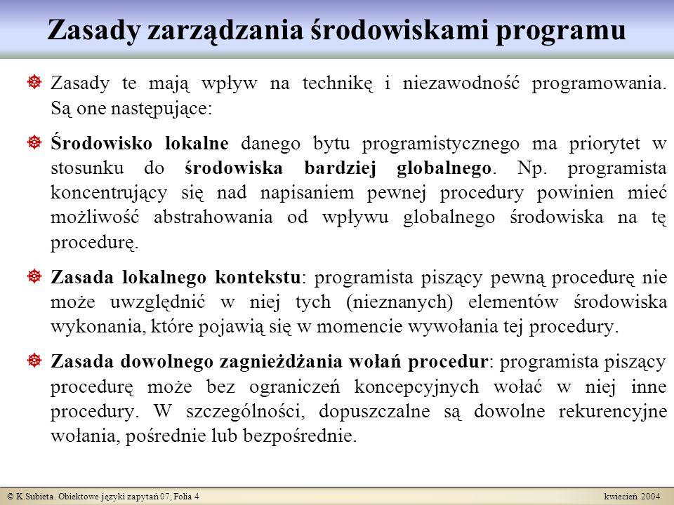 © K.Subieta. Obiektowe języki zapytań 07, Folia 4 kwiecień 2004 Zasady zarządzania środowiskami programu Zasady te mają wpływ na technikę i niezawodno