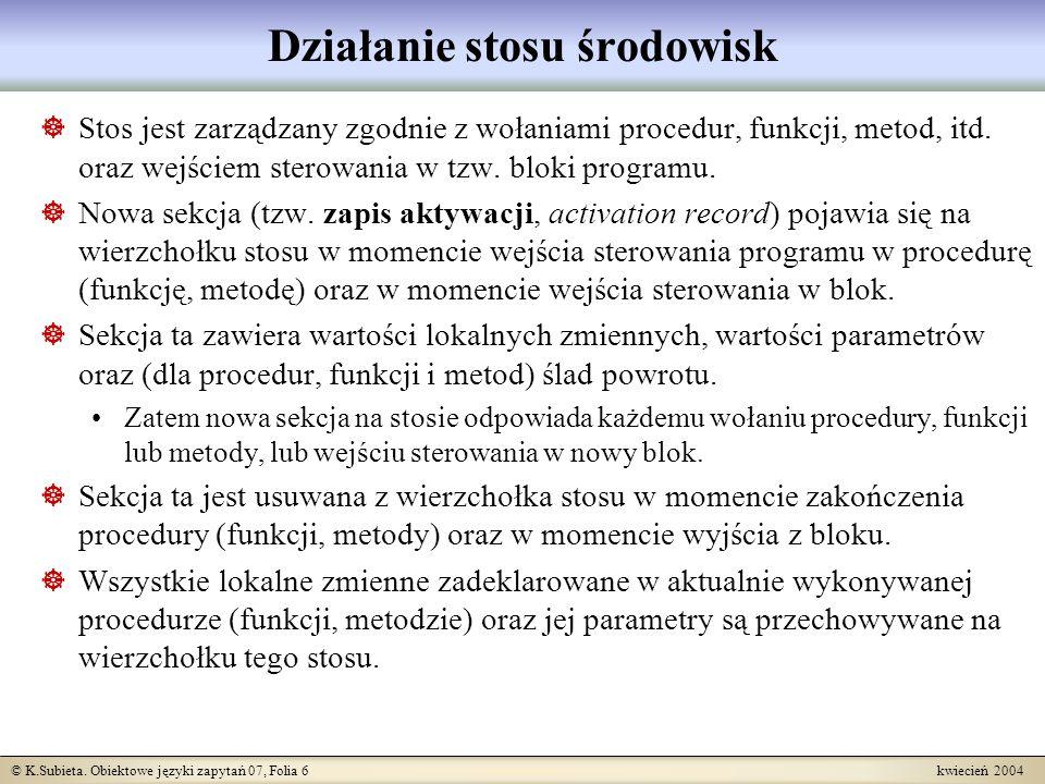 © K.Subieta. Obiektowe języki zapytań 07, Folia 6 kwiecień 2004 Działanie stosu środowisk Stos jest zarządzany zgodnie z wołaniami procedur, funkcji,