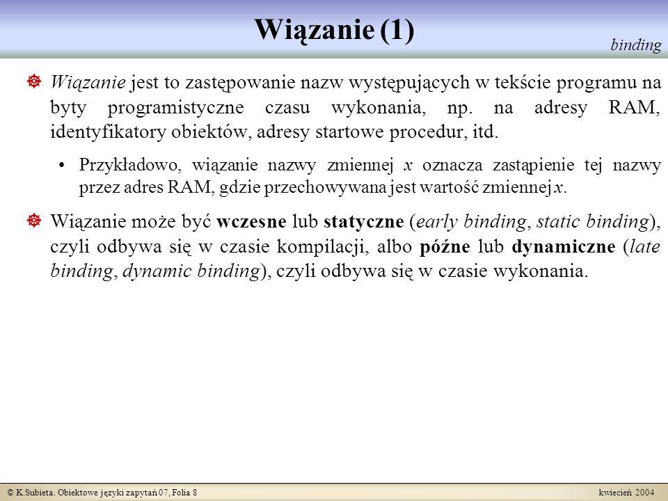 © K.Subieta. Obiektowe języki zapytań 07, Folia 8 kwiecień 2004 Wiązanie (1) Wiązanie jest to zastępowanie nazw występujących w tekście programu na by