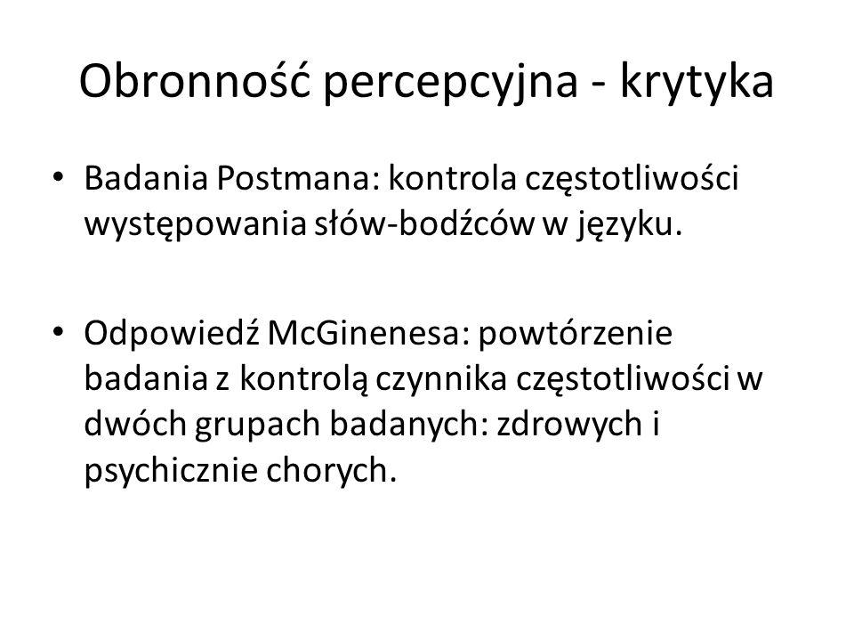 Obronność percepcyjna - krytyka Badania Postmana: kontrola częstotliwości występowania słów-bodźców w języku. Odpowiedź McGinenesa: powtórzenie badani
