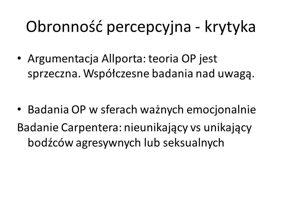 Obronność percepcyjna - krytyka Argumentacja Allporta: teoria OP jest sprzeczna. Współczesne badania nad uwagą. Badania OP w sferach ważnych emocjonal