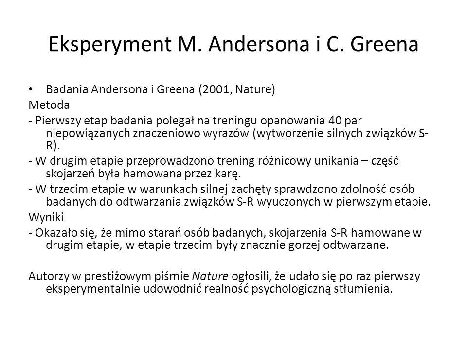 Eksperyment M. Andersona i C. Greena Badania Andersona i Greena (2001, Nature) Metoda - Pierwszy etap badania polegał na treningu opanowania 40 par ni