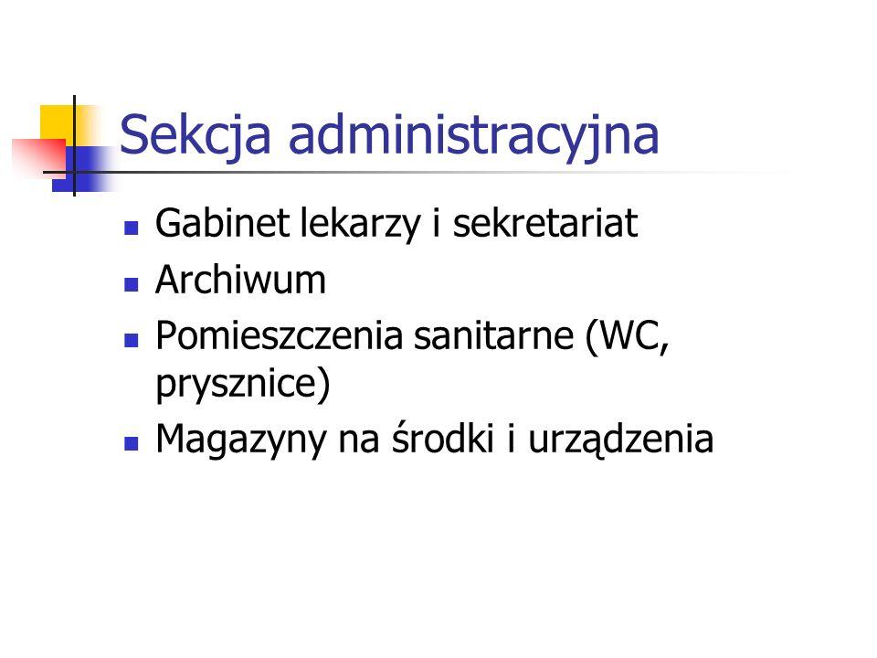 Sekcja administracyjna Gabinet lekarzy i sekretariat Archiwum Pomieszczenia sanitarne (WC, prysznice) Magazyny na środki i urządzenia
