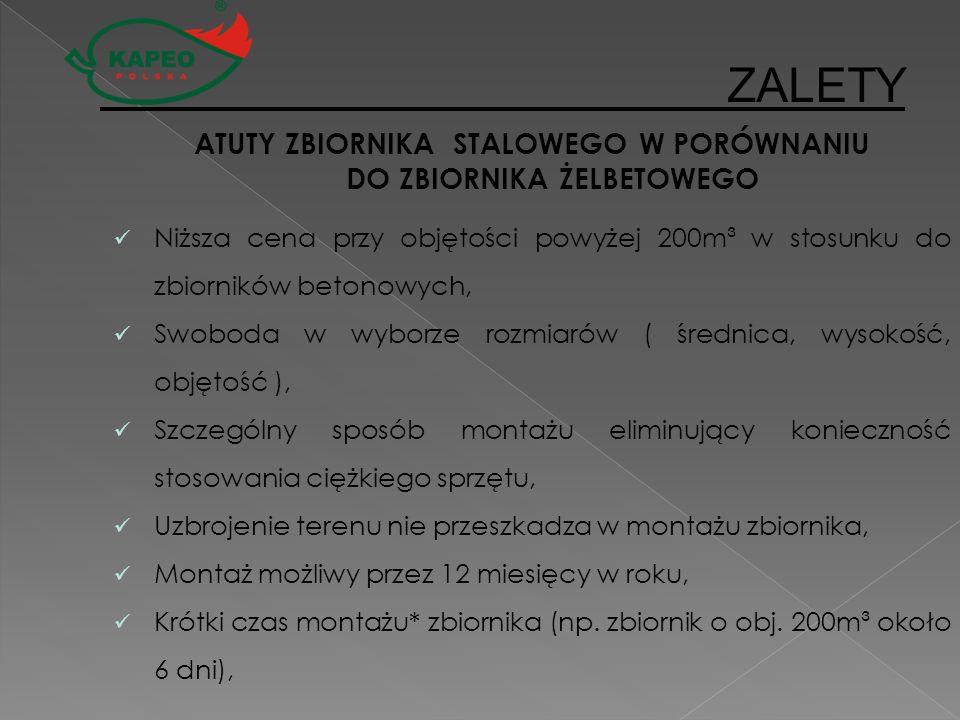 ATUTY ZBIORNIKA STALOWEGO W PORÓWNANIU DO ZBIORNIKA ŻELBETOWEGO Niższa cena przy objętości powyżej 200m³ w stosunku do zbiorników betonowych, Swoboda
