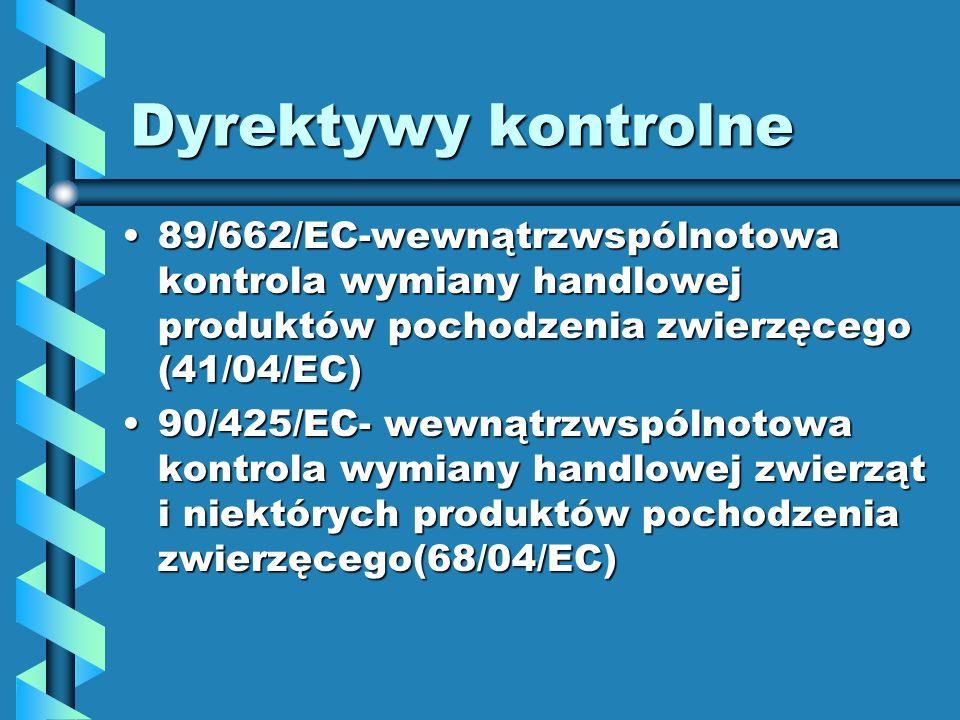 Dyrektywy kontrolne 89/662/EC-wewnątrzwspólnotowa kontrola wymiany handlowej produktów pochodzenia zwierzęcego (41/04/EC)89/662/EC-wewnątrzwspólnotowa