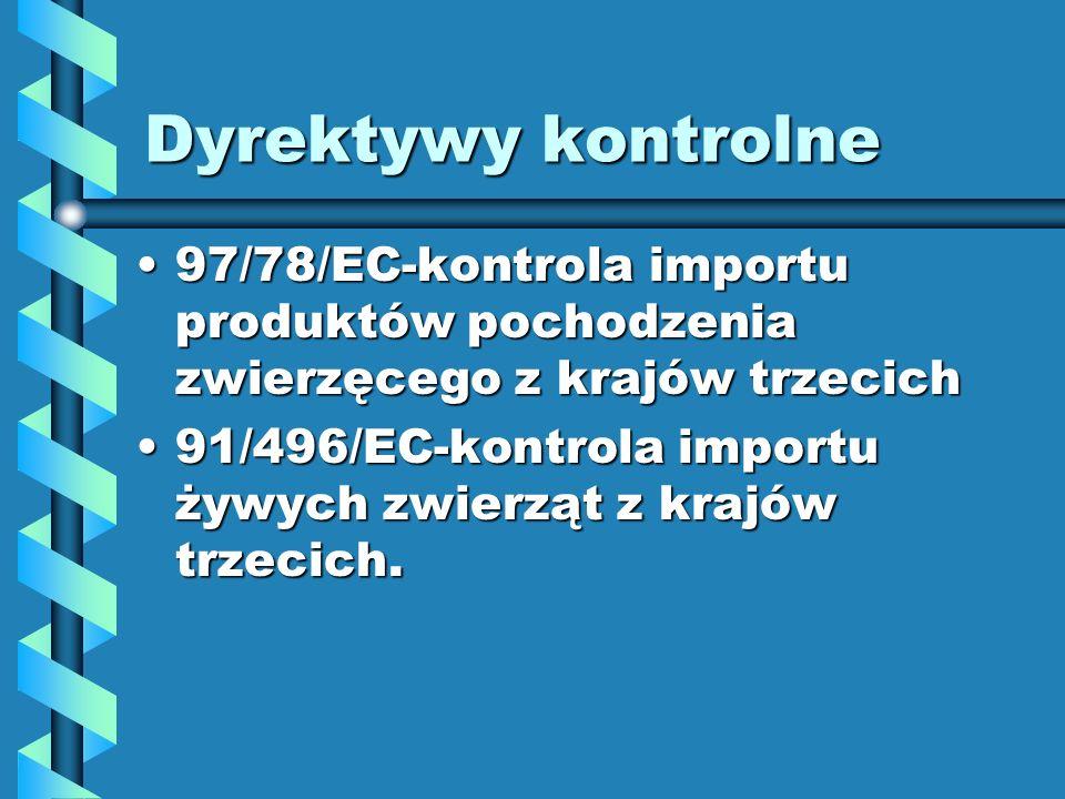 Dyrektywy kontrolne 97/78/EC-kontrola importu produktów pochodzenia zwierzęcego z krajów trzecich97/78/EC-kontrola importu produktów pochodzenia zwier