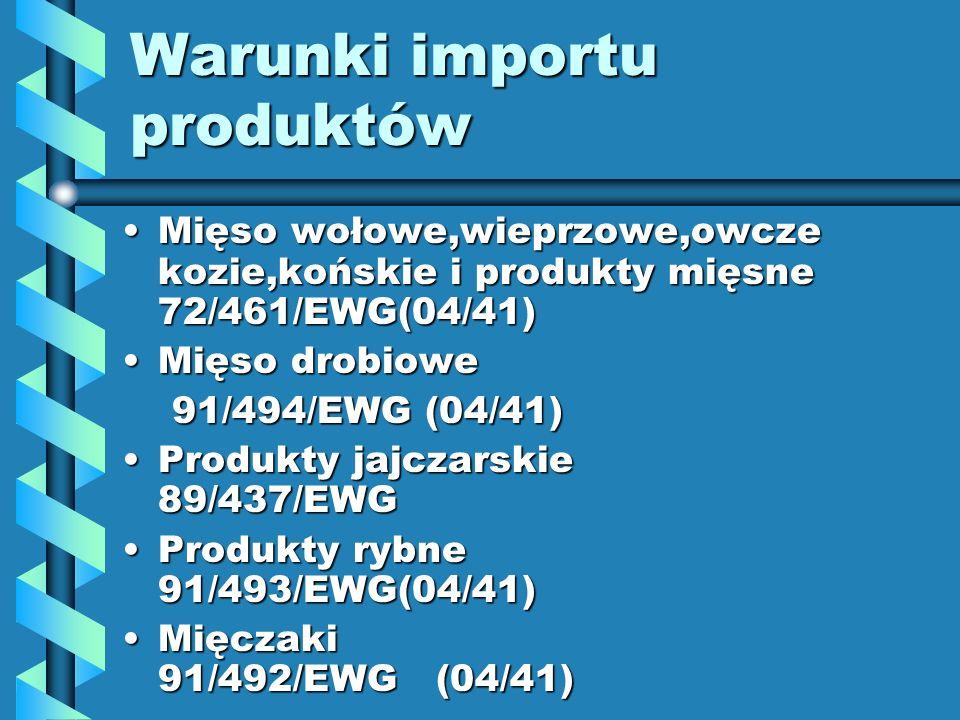 Warunki importu produktów Mięso wołowe,wieprzowe,owcze kozie,końskie i produkty mięsne 72/461/EWG(04/41)Mięso wołowe,wieprzowe,owcze kozie,końskie i p