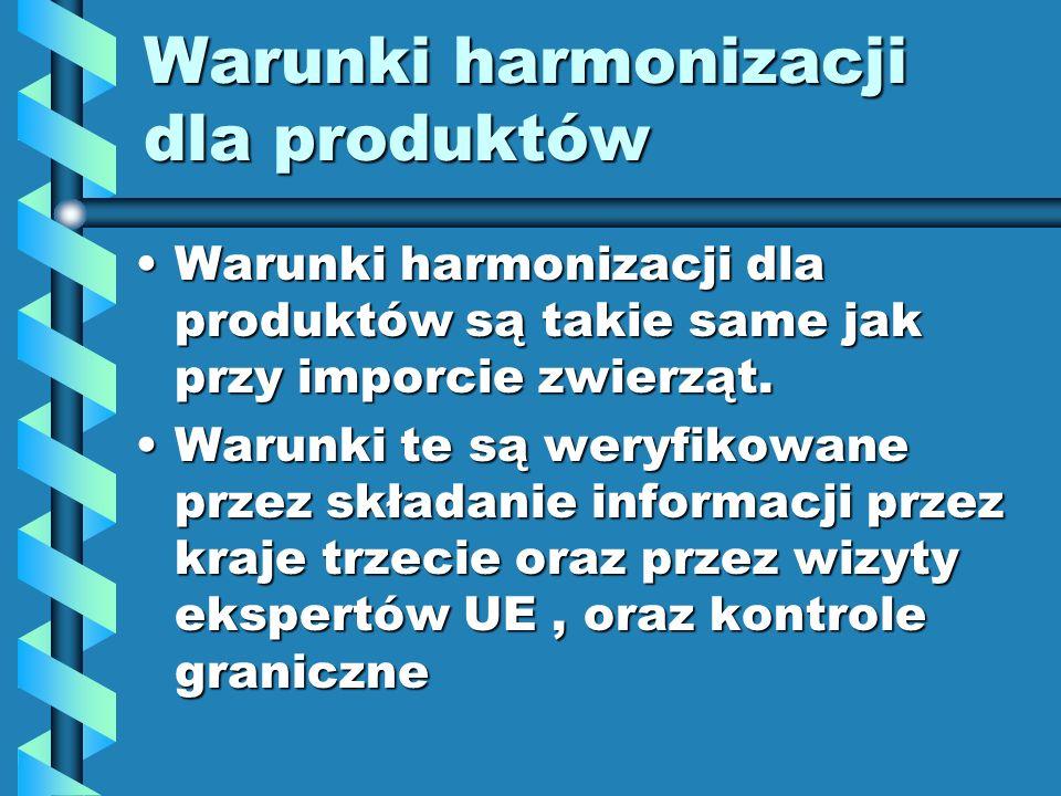 Warunki harmonizacji dla produktów Warunki harmonizacji dla produktów są takie same jak przy imporcie zwierząt.Warunki harmonizacji dla produktów są t