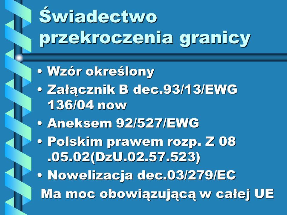Świadectwo przekroczenia granicy Wzór określonyWzór określony Załącznik B dec.93/13/EWG 136/04 nowZałącznik B dec.93/13/EWG 136/04 now Aneksem 92/527/