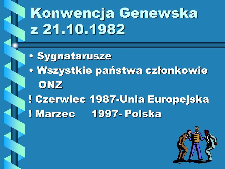 Konwencja Genewska z 21.10.1982 SygnataruszeSygnatarusze Wszystkie państwa członkowieWszystkie państwa członkowie ONZ ONZ ! Czerwiec 1987-Unia Europej