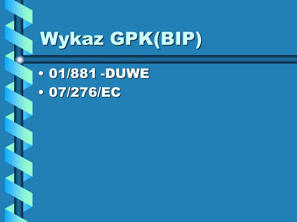 Wykaz GPK(BIP) 01/881 -DUWE01/881 -DUWE 07/276/EC07/276/EC