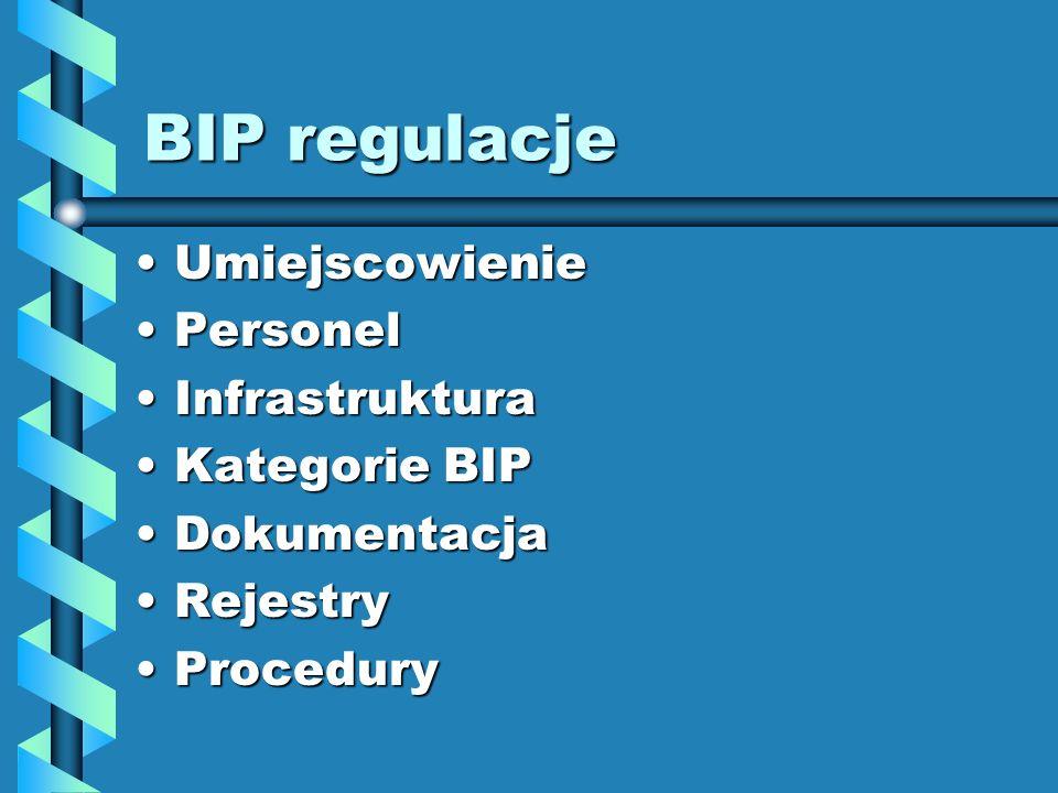 BIP regulacje UmiejscowienieUmiejscowienie PersonelPersonel InfrastrukturaInfrastruktura Kategorie BIPKategorie BIP DokumentacjaDokumentacja RejestryR