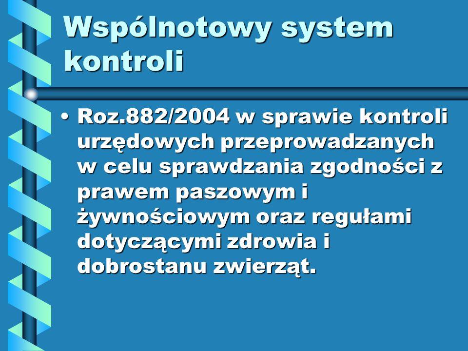 Wspólnotowy system kontroli Roz.882/2004 w sprawie kontroli urzędowych przeprowadzanych w celu sprawdzania zgodności z prawem paszowym i żywnościowym