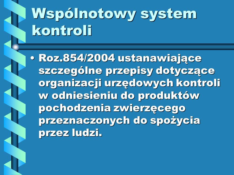 Wspólnotowy system kontroli Roz.854/2004 ustanawiające szczególne przepisy dotyczące organizacji urzędowych kontroli w odniesieniu do produktów pochod
