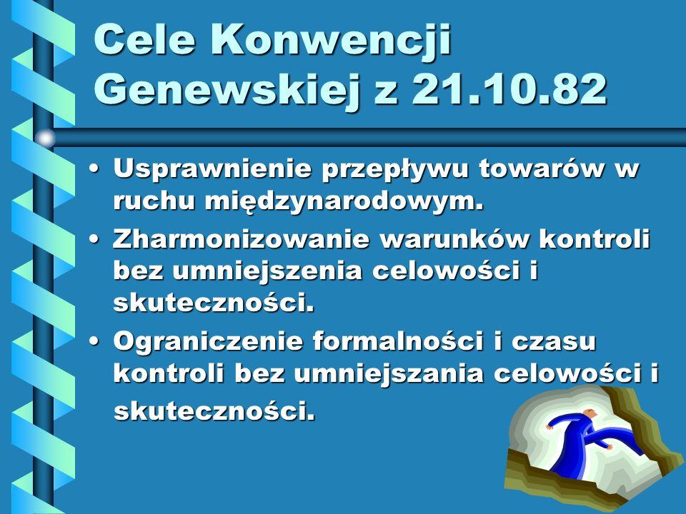 Cele Konwencji Genewskiej z 21.10.82 Usprawnienie przepływu towarów w ruchu międzynarodowym.Usprawnienie przepływu towarów w ruchu międzynarodowym. Zh