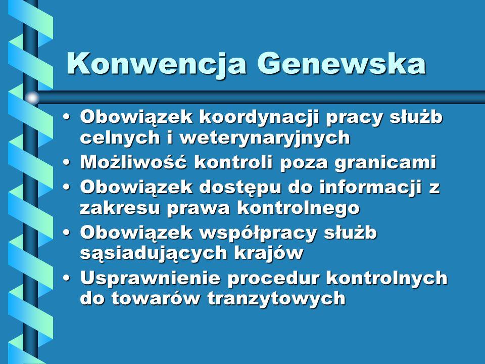 Konwencja Genewska Obowiązek koordynacji pracy służb celnych i weterynaryjnychObowiązek koordynacji pracy służb celnych i weterynaryjnych Możliwość ko