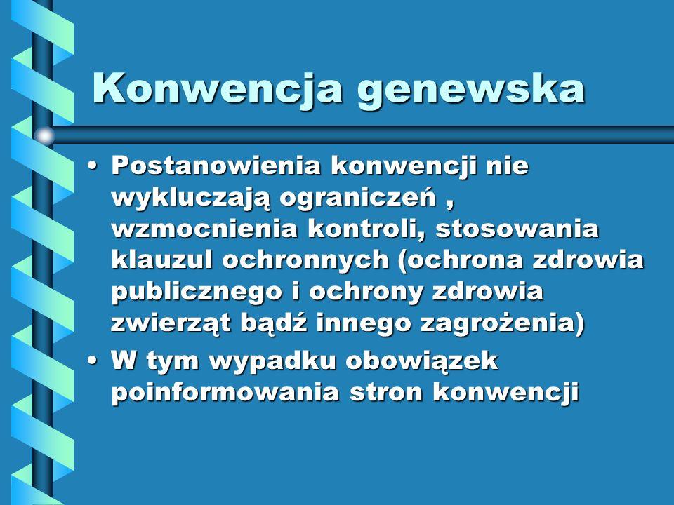 Konwencja genewska Postanowienia konwencji nie wykluczają ograniczeń, wzmocnienia kontroli, stosowania klauzul ochronnych (ochrona zdrowia publicznego