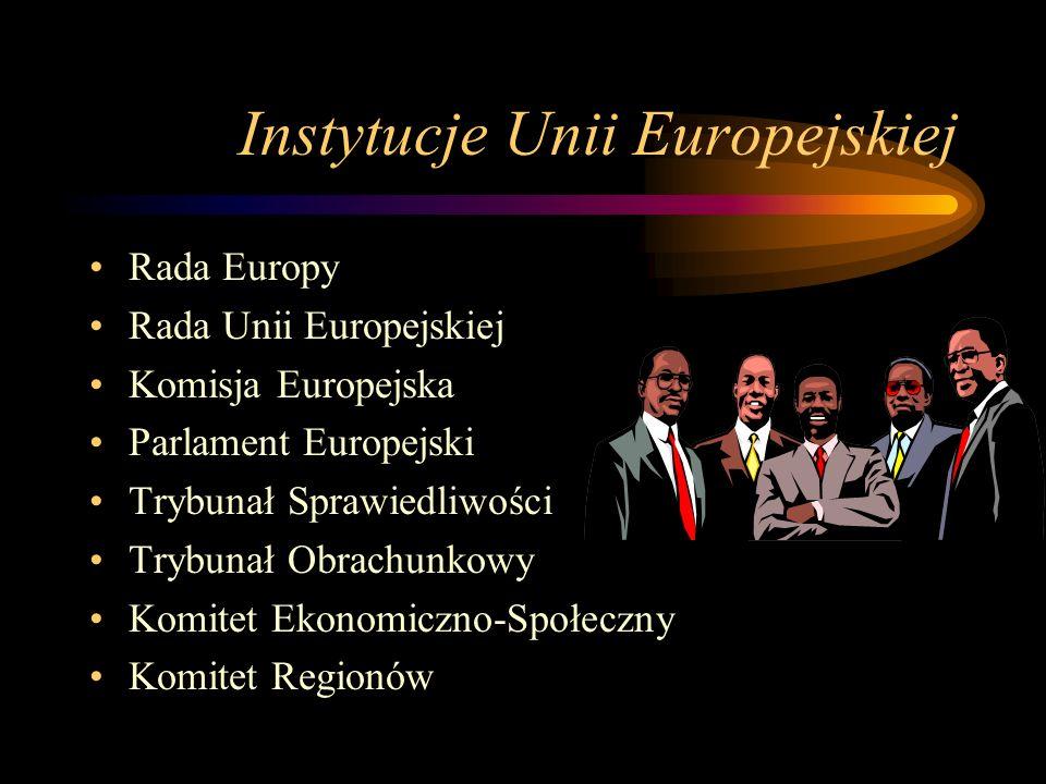 Instytucje Unii Europejskiej Rada Europy Rada Unii Europejskiej Komisja Europejska Parlament Europejski Trybunał Sprawiedliwości Trybunał Obrachunkowy Komitet Ekonomiczno-Społeczny Komitet Regionów