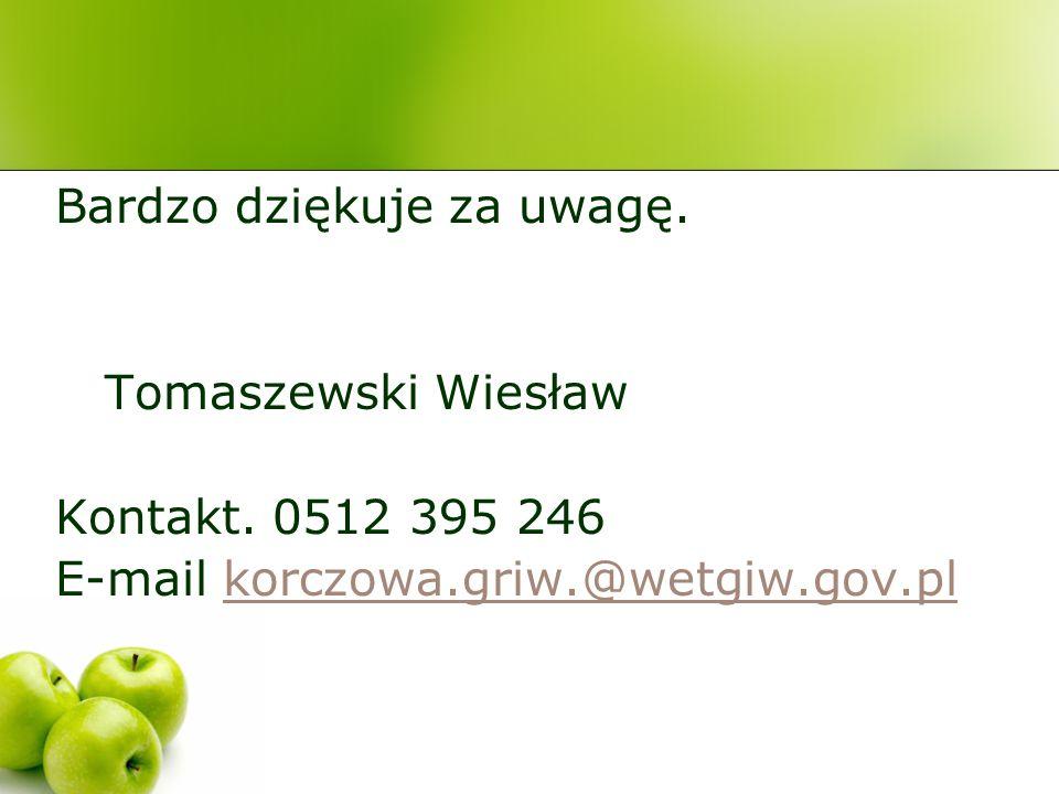 Bardzo dziękuje za uwagę. Tomaszewski Wiesław Kontakt. 0512 395 246 E-mail korczowa.griw.@wetgiw.gov.plkorczowa.griw.@wetgiw.gov.pl