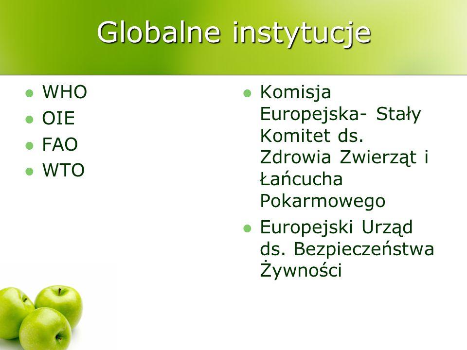 Globalne instytucje WHO OIE FAO WTO Komisja Europejska- Stały Komitet ds. Zdrowia Zwierząt i Łańcucha Pokarmowego Europejski Urząd ds. Bezpieczeństwa