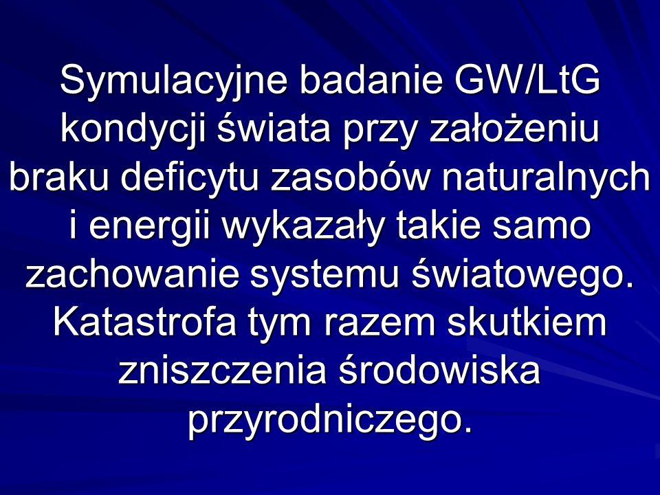 Symulacyjne badanie GW/LtG kondycji świata przy założeniu braku deficytu zasobów naturalnych i energii wykazały takie samo zachowanie systemu światowego.