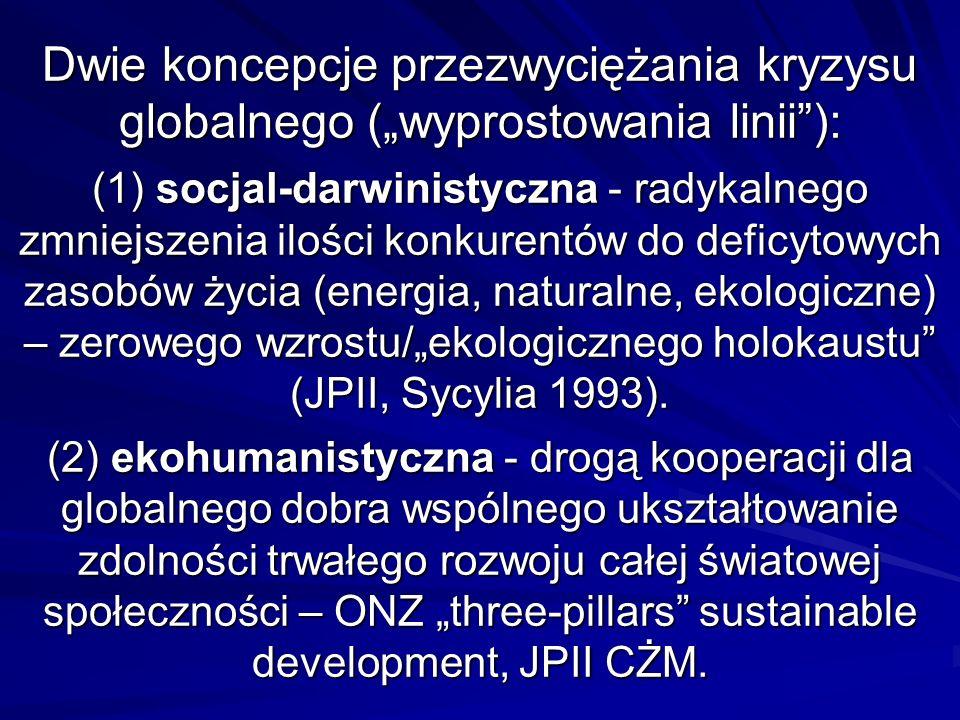 Dwie koncepcje przezwyciężania kryzysu globalnego (wyprostowania linii): (1) socjal-darwinistyczna - radykalnego zmniejszenia ilości konkurentów do deficytowych zasobów życia (energia, naturalne, ekologiczne) – zerowego wzrostu/ekologicznego holokaustu (JPII, Sycylia 1993).