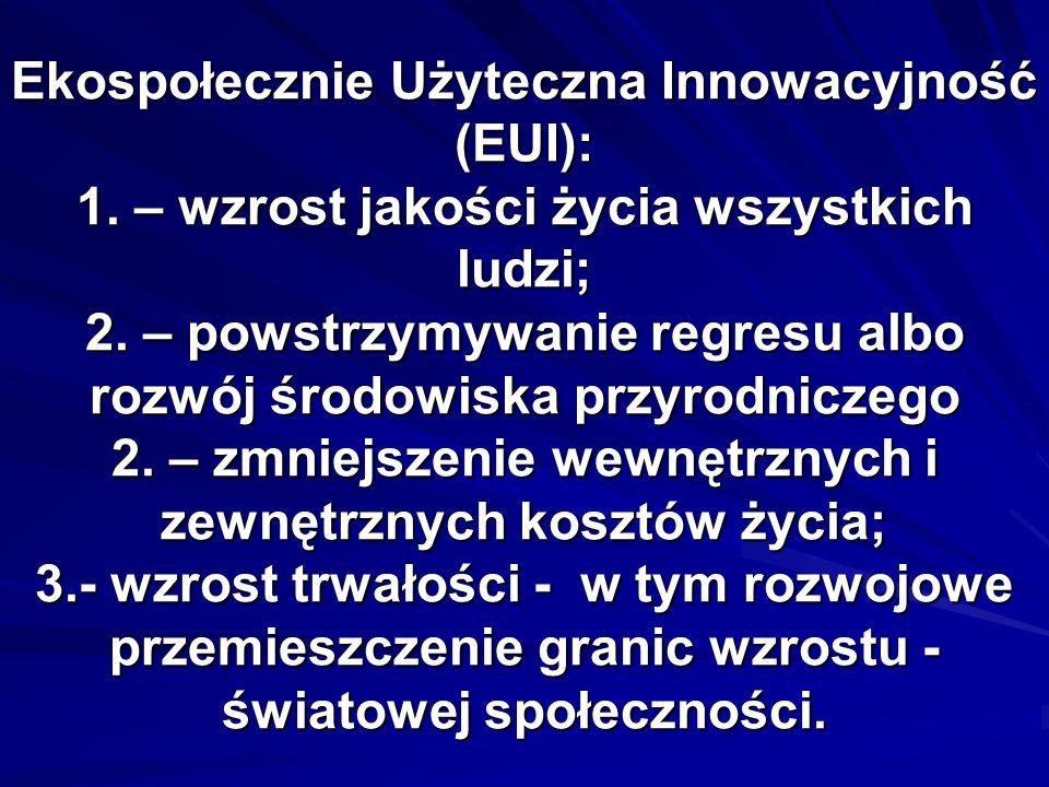 Ekospołecznie Użyteczna Innowacyjność (EUI): 1. – wzrost jakości życia wszystkich ludzi; 2. – powstrzymywanie regresu albo rozwój środowiska przyrodni