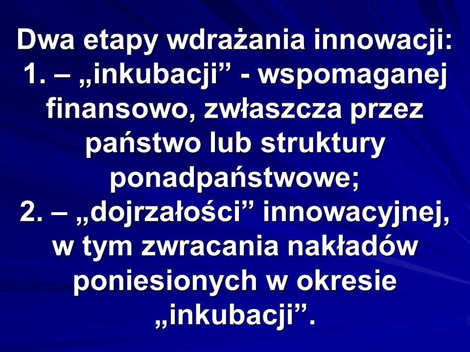 Dwa etapy wdrażania innowacji: 1. – inkubacji - wspomaganej finansowo, zwłaszcza przez państwo lub struktury ponadpaństwowe; 2. – dojrzałości innowacy