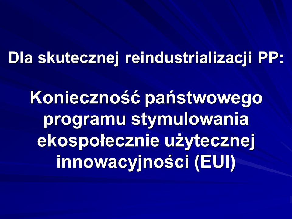 Dla skutecznej reindustrializacji PP: Konieczność państwowego programu stymulowania ekospołecznie użytecznej innowacyjności (EUI)