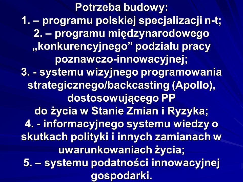 Potrzeba budowy: 1. – programu polskiej specjalizacji n-t; 2. – programu międzynarodowego konkurencyjnego podziału pracy poznawczo-innowacyjnej; 3. -