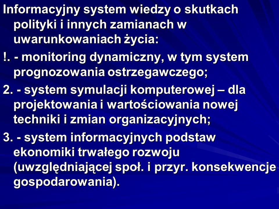 Informacyjny system wiedzy o skutkach polityki i innych zamianach w uwarunkowaniach życia: !. - monitoring dynamiczny, w tym system prognozowania ostr