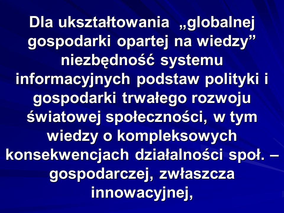 Dla ukształtowania globalnej gospodarki opartej na wiedzy niezbędność systemu informacyjnych podstaw polityki i gospodarki trwałego rozwoju światowej