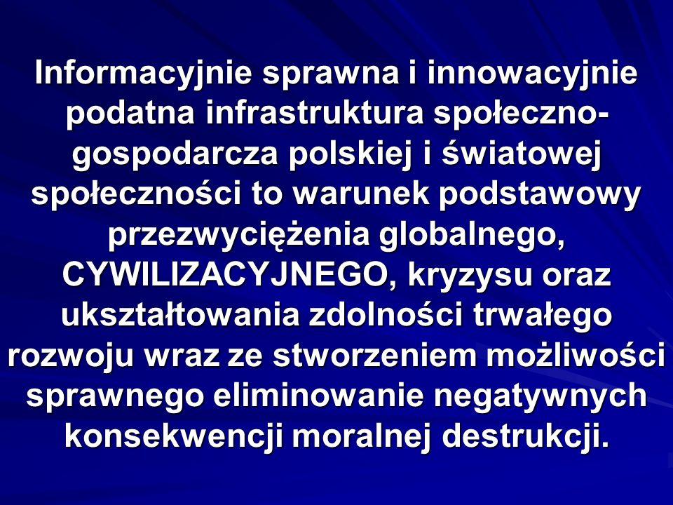 Informacyjnie sprawna i innowacyjnie podatna infrastruktura społeczno- gospodarcza polskiej i światowej społeczności to warunek podstawowy przezwycięż