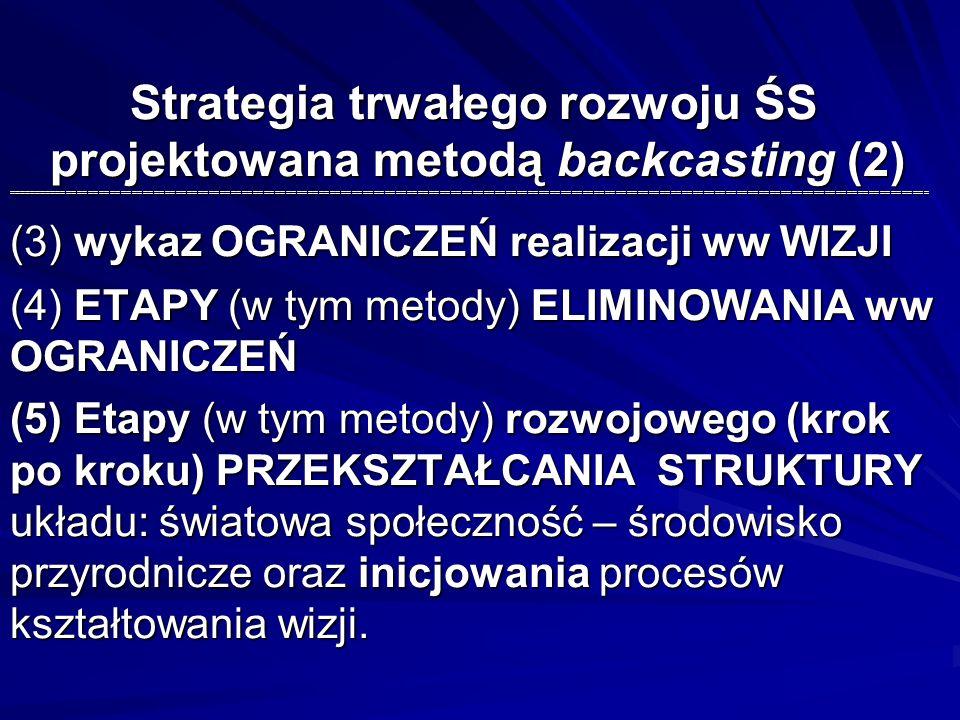 Strategia trwałego rozwoju ŚS projektowana metodą backcasting (2) ====================================================================================