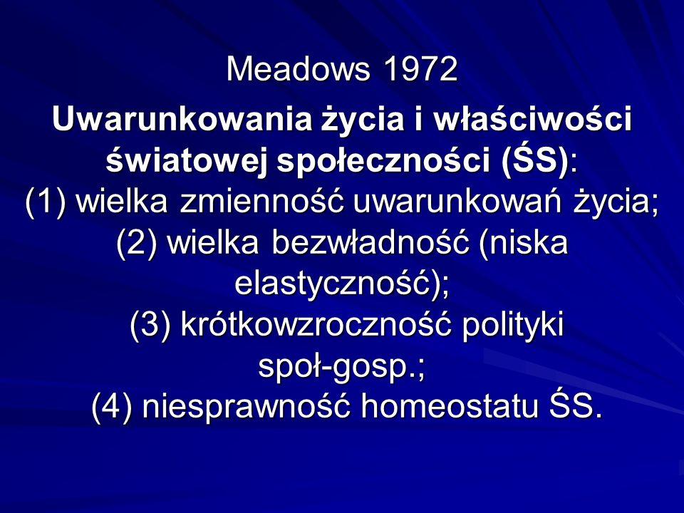 Meadows 1972 Uwarunkowania życia i właściwości światowej społeczności (ŚS): (1) wielka zmienność uwarunkowań życia; (2) wielka bezwładność (niska elas