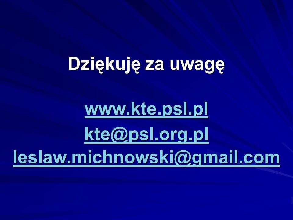 Dziękuję za uwagę www.kte.psl.pl kte@psl.org.pl leslaw.michnowski@gmail.com www.kte.psl.pl kte@psl.org.pl leslaw.michnowski@gmail.com www.kte.psl.pl k