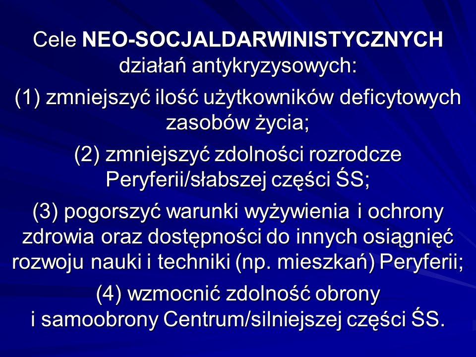 Cele NEO-SOCJALDARWINISTYCZNYCH działań antykryzysowych: (1) zmniejszyć ilość użytkowników deficytowych zasobów życia; (2) zmniejszyć zdolności rozrod